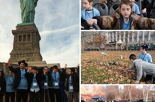 מול פסל החירות, ילדי השלוחים שרו