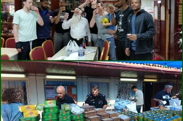 שוטרים ושחקני כדורסל ארזו חבילות מזון במרכז החסד ראשל
