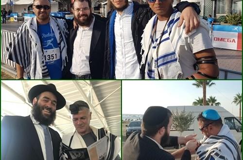 מרתון בינלאומי בלרנקה: עשרות הניחו תפילין וביקרו בבית חב