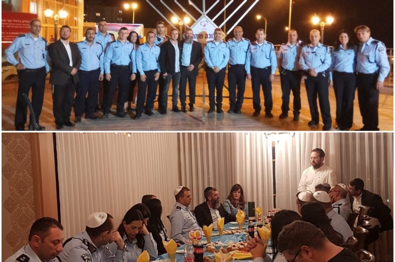 אשקלון: צמרת המשטרה בהתוועדות חסידית לכבוד חנוכה