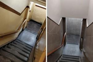 כך נראה חדר המדרגות של 770 בתום עבודת שיפוצים מושקעת