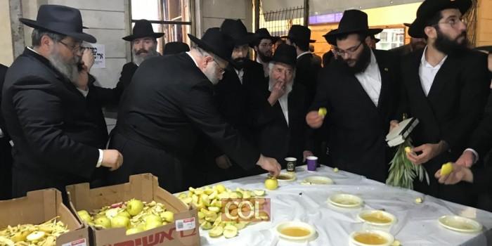 צפו: חלוקת תופח בדבש, ליל הושענא רבה בפתח בית הכנסת בכפר חב