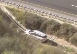 צפו: כך אותר נהג ש'עף' עם רכבו מכביש 6 לתעלה