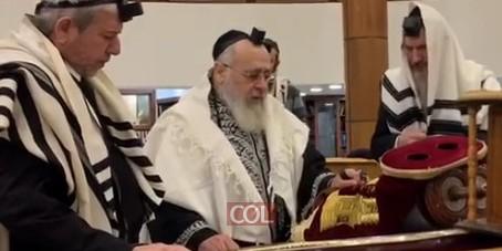 הראשון לציון והרב הראשי לישראל, הגאון הרב יצחק יוסף בברכת 'הגומל' בבית הכנסת 'מרינה רושצ'ה' במוסקבה
