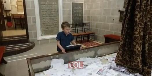 השליח הצעיר להאדיטש פנחס דייטש מתפלל בציון הק' של אדמו
