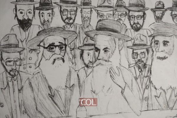ר' אברהם הערש ור' שלמה חיים קסלמן ור' מענדל פוטרפס מתוועדים