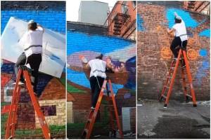 ציור חסידי ענק בקיר בקינגסטון: כך זה מתבצע, דקה אחרי דקה